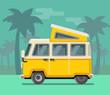 Vintage van. Summer vacation time, tropics.