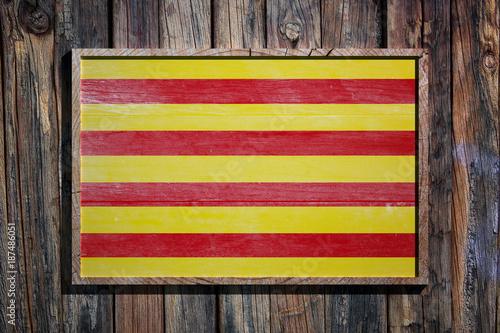 Foto op Canvas Barcelona Wooden Catalonia flag
