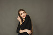 Female fashion model in casual wear, studio shot