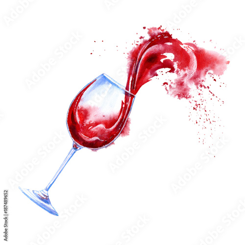 Glass of a red wine and splashes.Picture of a alcoholic drink.Watercolor hand drawn illustration.White background. - 187489652