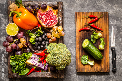 Foto Murales vegetables and fruits, herbs - the ingredients for cooking, healthy lifestyle
