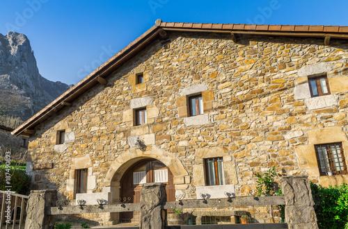 Keuken foto achterwand Beige Typical Basque landscape between mountains