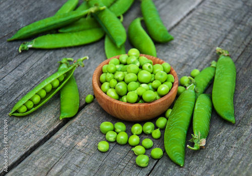 green peas on a table - 187492049