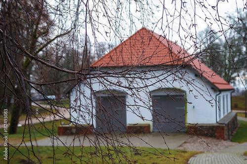 Fotobehang Oude verlaten gebouwen The old brick manor house Latvia.Siekstates