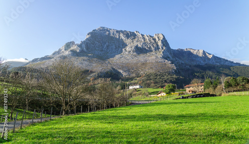 Fotobehang Blauwe hemel Typical Basque landscape between mountains and animals