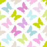 Seamless Pattern Butterflies Pastel
