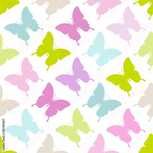 Seamless Pattern Butterflies Pastel - 187493637