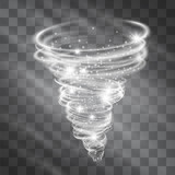 Light hurricane effect. Vector glowing tornado, swirling storm cone of shining stardust sparkles on transparent background. Glittering blizzard funnel, ice cold magical illumination. Whirlwind weather - 187494491