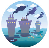 Ecological disaster at sea in a circle. A flat vector icon for the designer's work. Icon with ships - 187495876