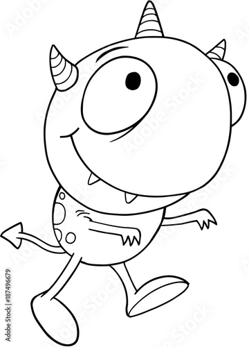 Fotobehang Cartoon draw Cute Silly Monster Alien Vector Illustration Art