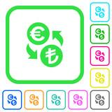 Euro Lira money exchange vivid colored flat icons - 187497092