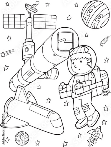 Foto op Canvas Cartoon draw Astronaut Space Station Vector Illustration Art