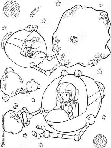 Foto op Canvas Cartoon draw Outer Space Mining Vector Illustration Art
