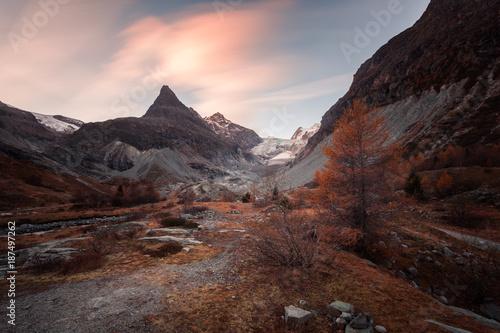 Fotobehang Chocoladebruin Le Glacier de Ferpècle en automne