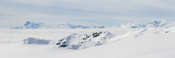Panorama dans les Alpes enneigés et avec la mer de nuages