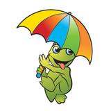 happy frog vector cartoon walking with colorful umbrella  - 187498290
