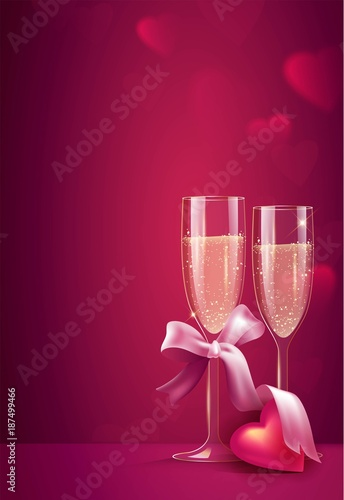 Two glasses of champagne with pink ribbon on pink background. Beautiful romantic background with place for text for Valentines day. Vetor illustration
