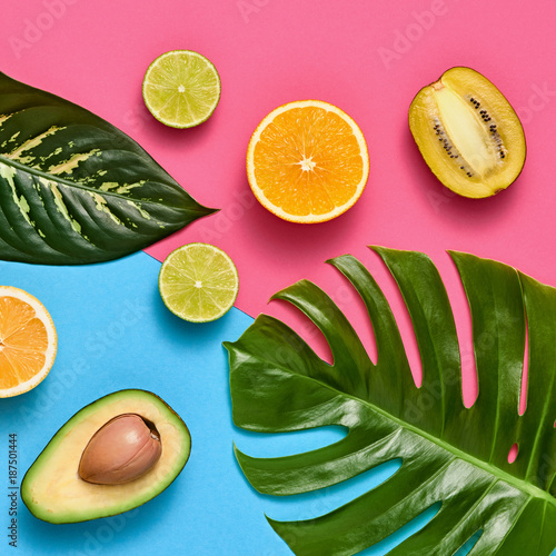Tropical Colorful Summer Design Set. Palm Leaves and Fresh Fruits. Trendy Fashion concept. Creative Bright summer background, Beach. Minimal art. Flat lay. - 187501444