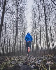 uomo che corre nel bosco