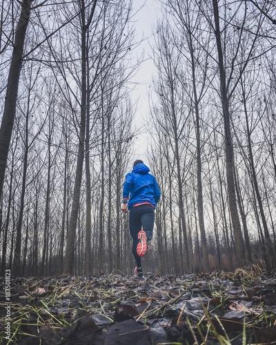 In de dag Jogging uomo che corre nel bosco