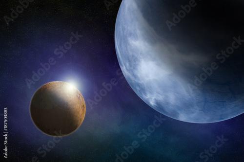 Foto Murales Earth type planet background in outer with a lens flare from its moon