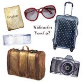 Watercolor travel set. Hand painted tourist objects set including passport, ticket, leather vintage suitcase, polka dot baggage, camera and sunglasses isolated on white background. For design. - 187504023