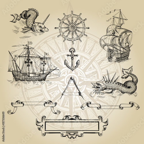 Fototapeta Set of decorative elements for the design of an old geographical map. Ancient caravel, sea monsters, anchor, ship's wheel, compass-meter, wind rose, framework for inscriptions, cartouche.