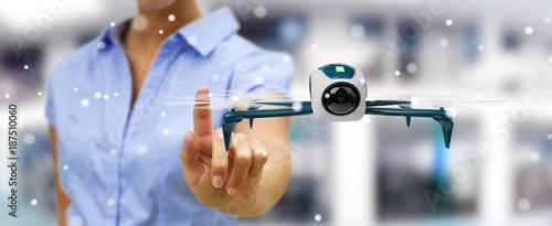 Businesswoman using modern drone 3D rendering
