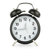 Big black alarm clock in retro style isolated on white