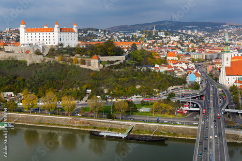 Bratislava castle and Saint Martins cathedral, river Danube - 187519044