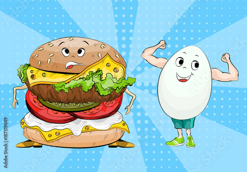 Obraz na płótnie Egg and hamburger. Healthy food and fast food. Choice concept between useful and harmful food. Pop art