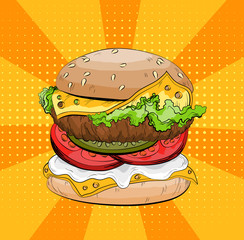 Classic burger on a pop art background. Colorful Big sandwich