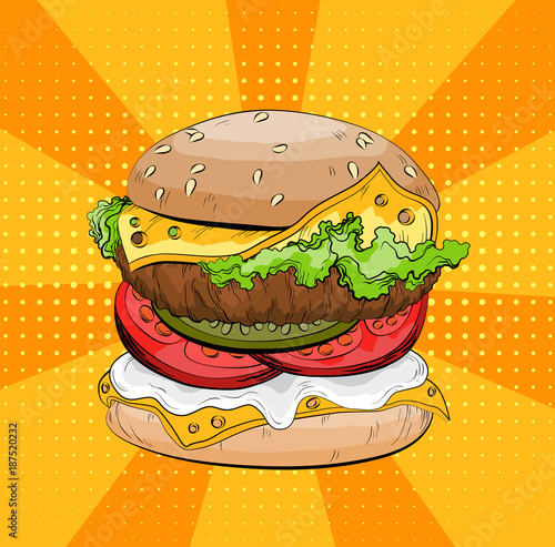 In de dag Pop Art Classic burger on a pop art background. Colorful Big sandwich