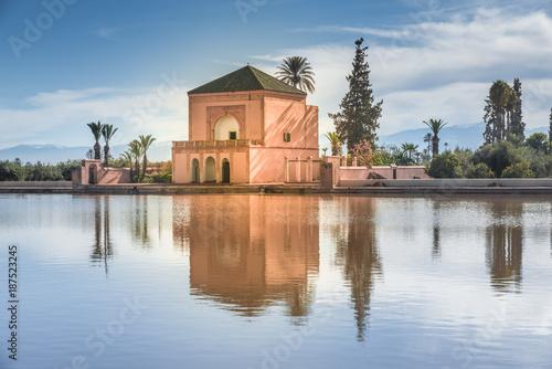 Restored Saadian garden pavilion, Menara Gardens, Marrakech, Morocco