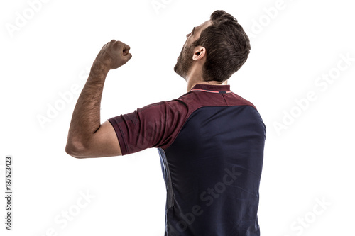 Soccer fan celebrating on white background Poster