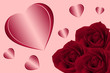 Red Roses  and Hearts on a pink background. Valentine's Day concept for card, invitations, packets, poster.  Romantic Love and affection.  Women's Gift. 14 February.
