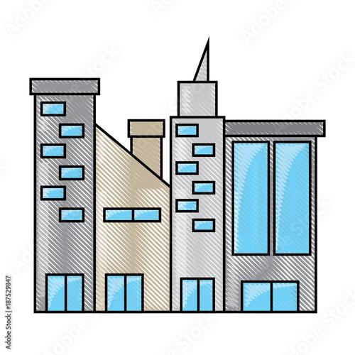 Fridge magnet city buildings design concept