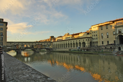 Deurstickers Florence Firenze, tramonto sull'Arno