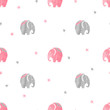 Cute watercolor elephants pattern. Vector simple seamless background for kids. - 187531626