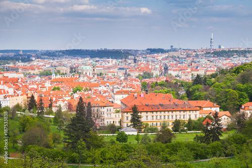 Panoramic view of old Prague town Poster