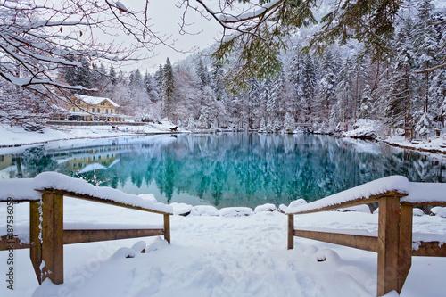 Foto op Canvas Bergen Blausee, Schweiz