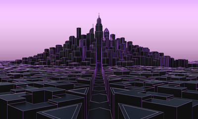 black cityscape with skyscrapers