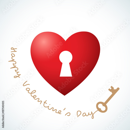Greeting card with Valentines day Red heart and gold key on a