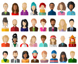 People avatar flat vector set isolated - 187545016