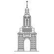 Bell tower of IrishTrinity college line icon. Outline symbol of popular attraction in Dublin, capital of Ireland. Old european building in thin linear style for tourist guides, posters, cards. - 187550002