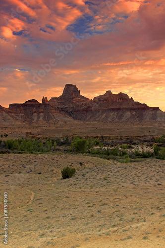 Fotobehang Zalm Utah desert landscape with sunset sky, USA.