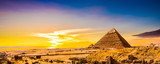 Great Pyramids of Giza, Egypt, at sunset - 187550242