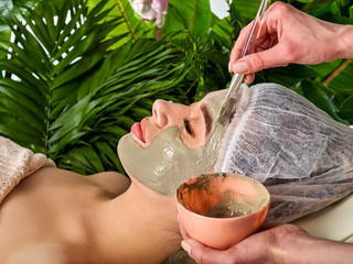 Mud facial mask of woman in spa salon. Massage with clay face in therapy room. Applying beautician with bowl therapeutic procedure on green plants background. Best clinics in Europe.