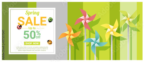 Spring sale banner with colorful pinwheels , vector , illustration - 187557047