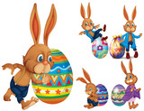Brown rabbits and easter eggs - 187564223
